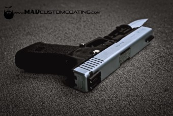 Glock 20 Slide & Knife in Cerakote Satin Aluminum
