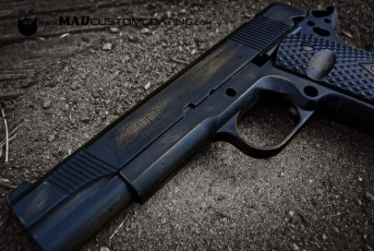 War Torn pattern on a Fury Custom 1911 in Burnt Bronze & MAD Black