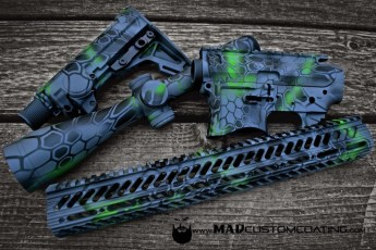 MAD Dragon Camo on an AR15 set w/Leupold Optic in MAD Black, MAD Green, Sniper Grey & Smith's Grey