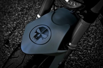 Custom Skull in Black over Mike498 Grey on a Ducati Monster