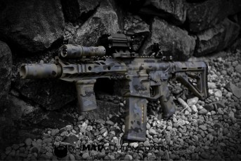 MADLand Camo on an AR setup in Magpul Foliage, Sniper Grey, Mike498 Grey & Black