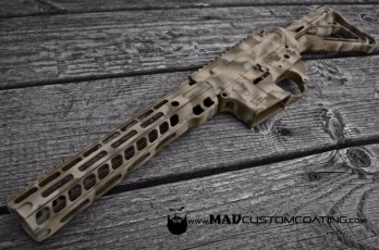 MAD Edge Camo on an AR set in Patriot Brown, Magpul FDE & Desert Sand