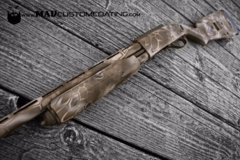 MAD Dragon Camo on a Remington 870 in Patriot Brown, Magpul FDE & Desert Sand
