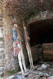 "Forgotten soldiers in an alcove outside the ""musée de la vie wallonne."""