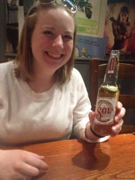 Mary's first legal beer!
