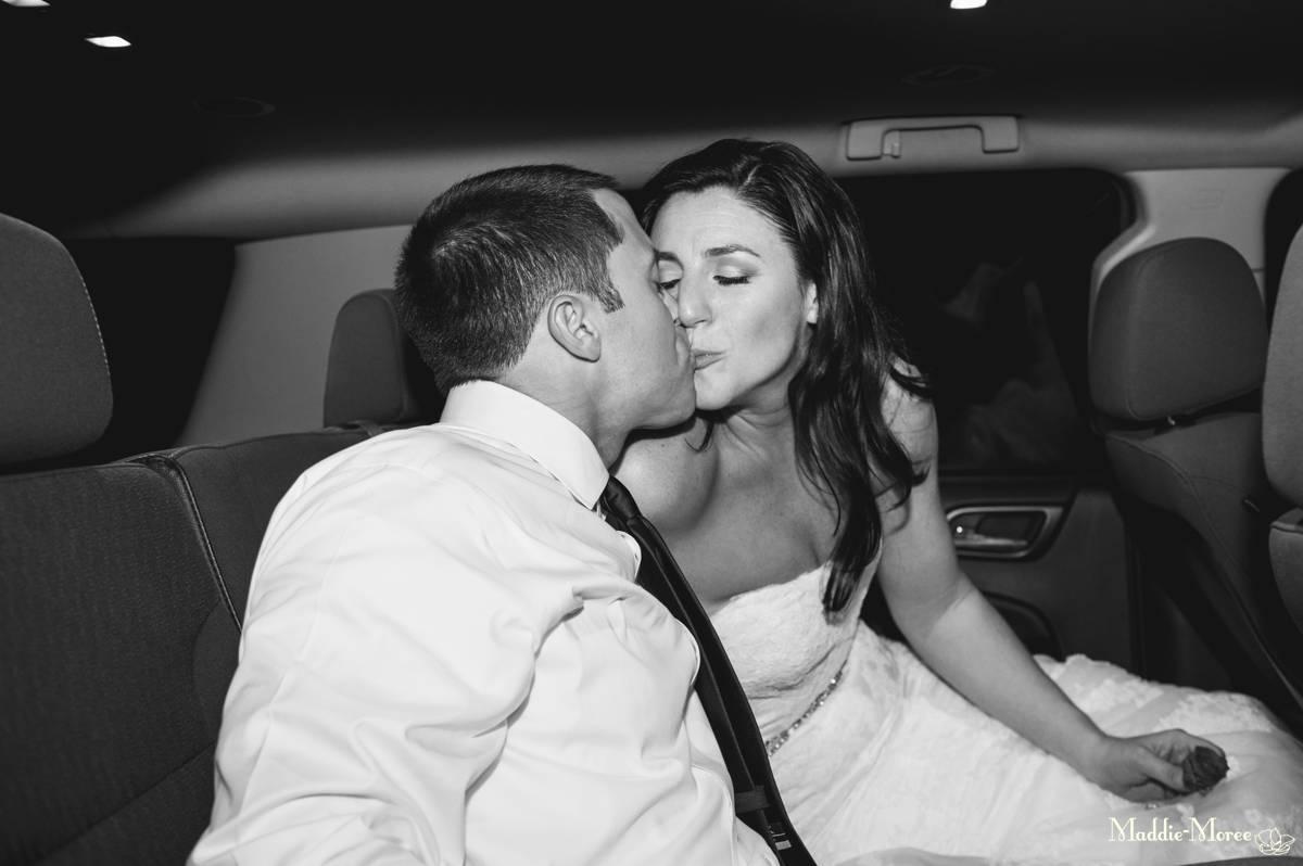 kiss in the getaway car