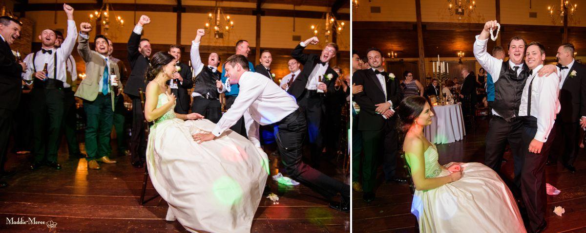 Cedar Hall reception garter toss