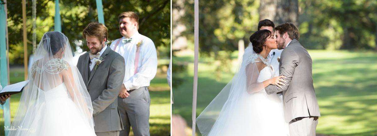 Heartwood Hall ceremony kiss
