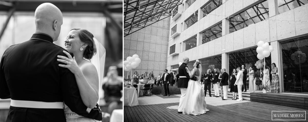 Visible music college reception bride groom dancing