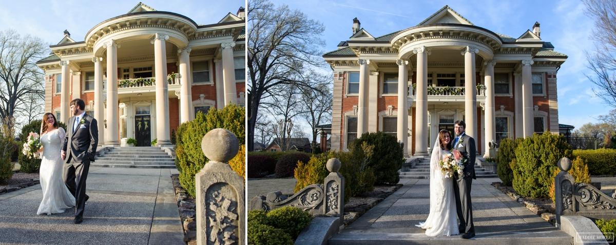 bride groom portraits house