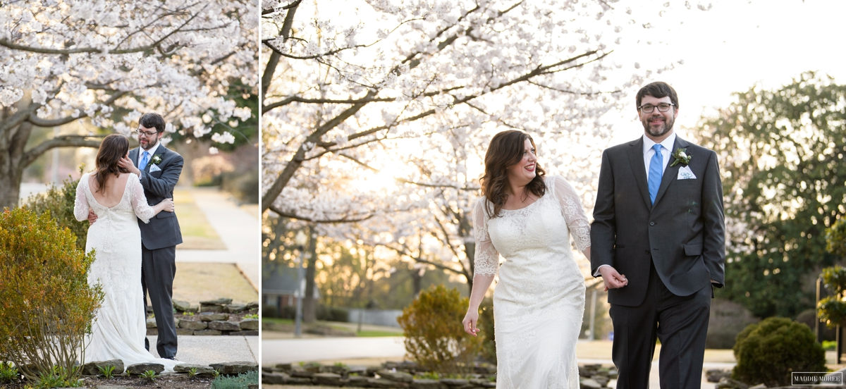 cherry blossoms wedding portraits