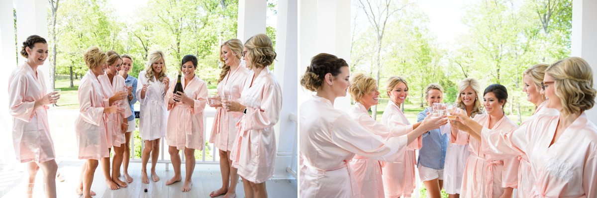 bride and bridesmaids getting ready for wedding