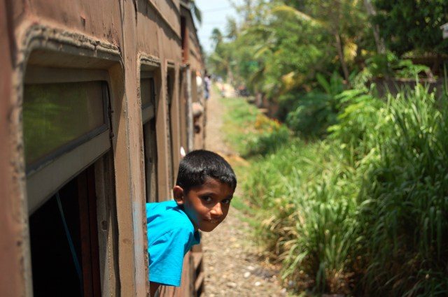 A kid on the Colombo-Galle train