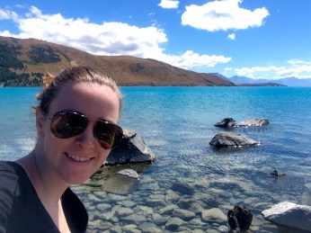 Lunch Lake Tekapu Selfie