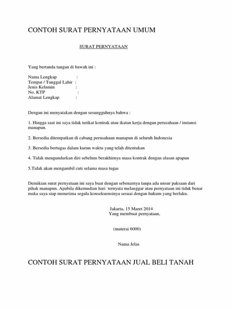 Contoh Surat Pernyataan Umum