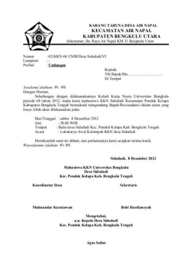 15 Contoh Surat Undangan Resmi Tidak Resmi Rapat Pengajian Dll