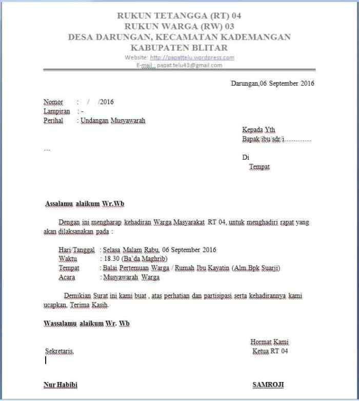 Contoh Surat Undangan Resmi Sd