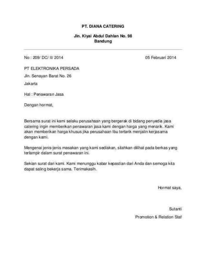 5. Contoh Surat Penawaran Jasa Catering