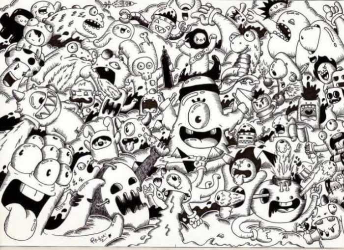 Karakteristik Dalam Gambar Doodle Art Monster
