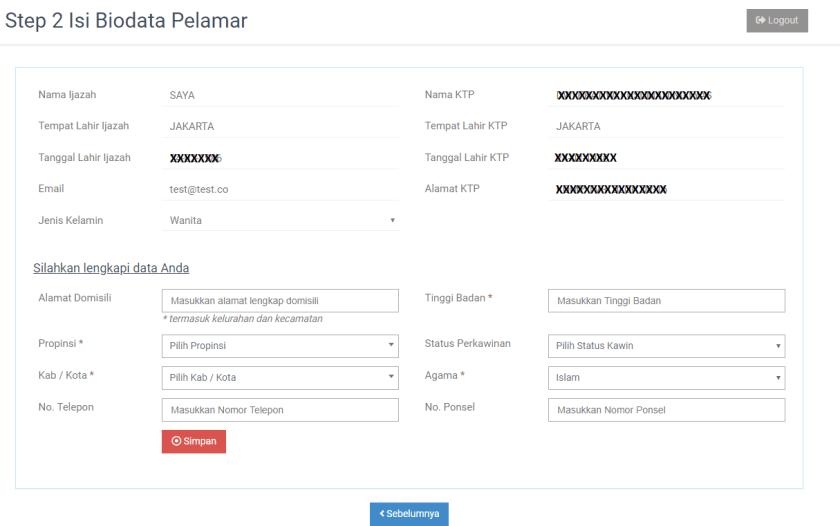 form isi biodata pelamar pendaftaran cpns