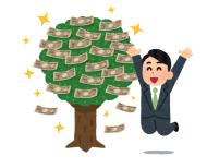 金のなる木に喜ぶ男性