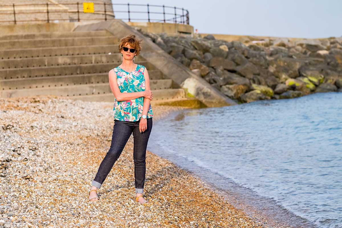 Enjoying the late evening sun on the beach in my Ginger jeans