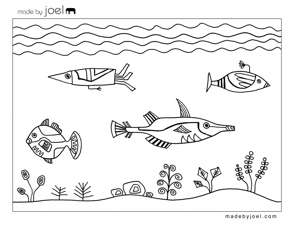 Made By Joel Underwater Design Coloring Sheet