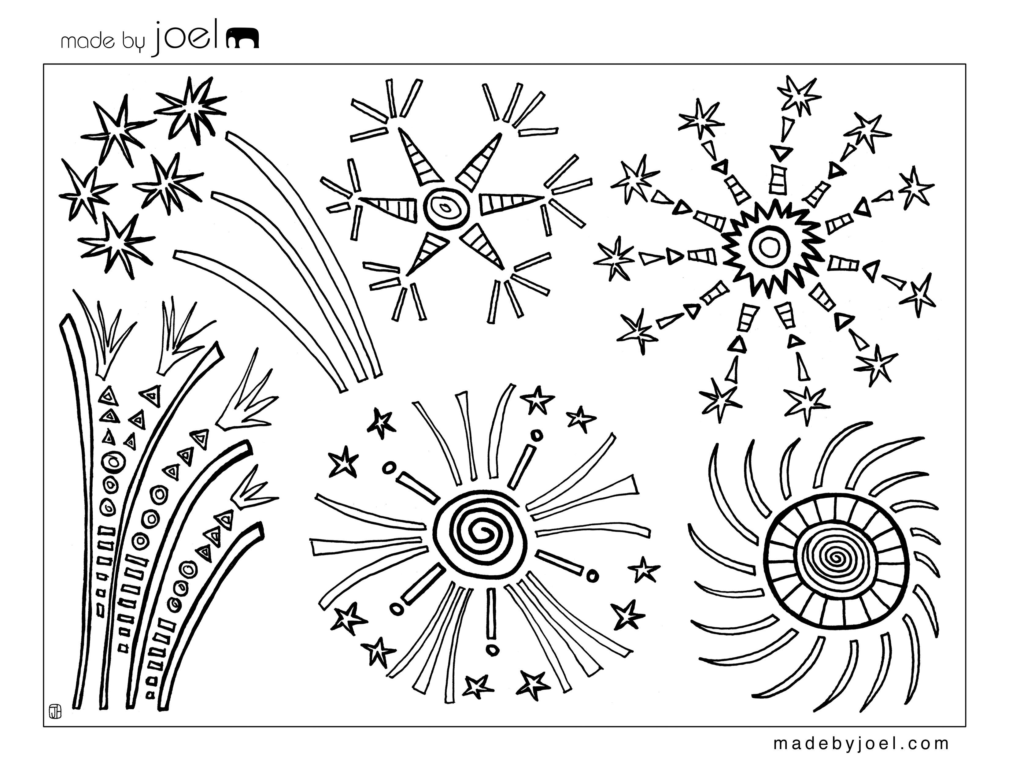 Made By Joel 4th Of July Fireworks Coloring Sheet
