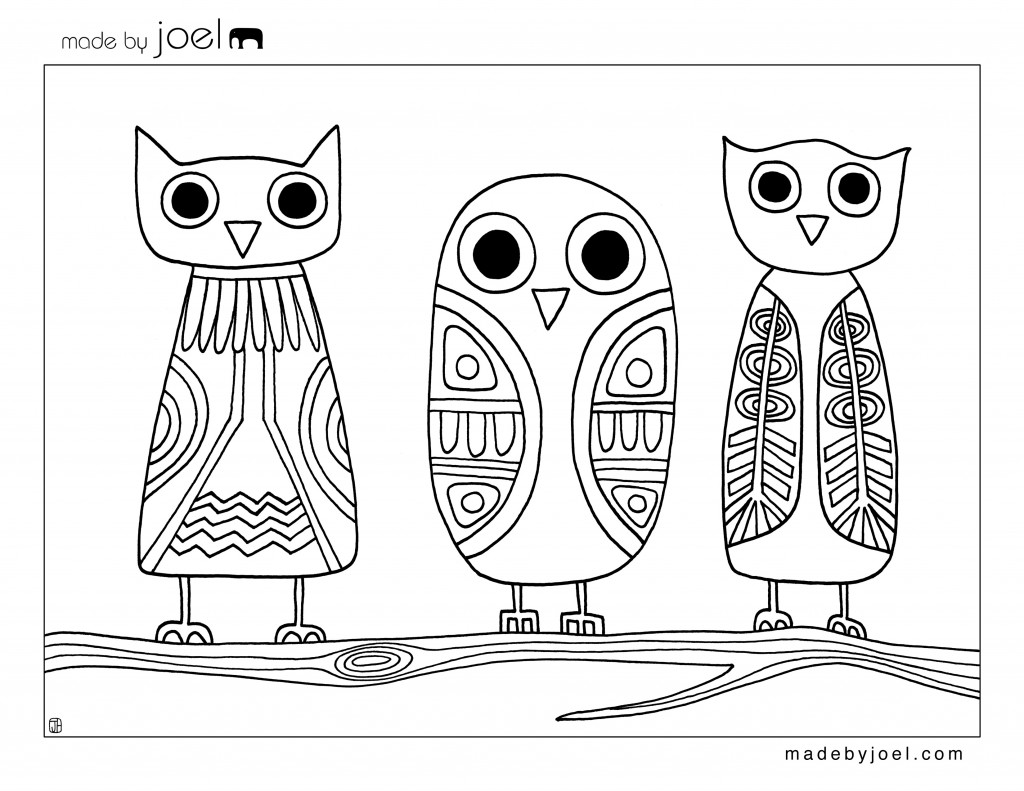 Made By Joel Owls Coloring Sheet