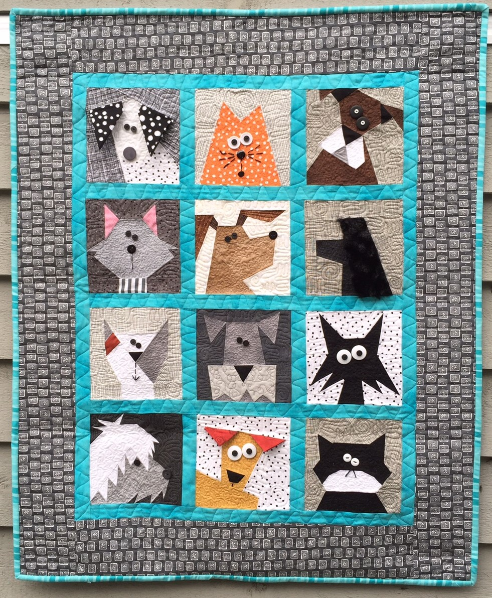 Cats N Dogs Paper Pieced Quilt Made By Marney
