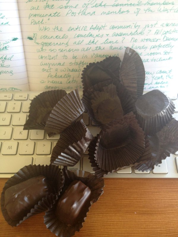 The 2nd draft of Trinkets, Treasures, and Other Bloody Magic has been fuelled by See's Candies dark chocolate chews!