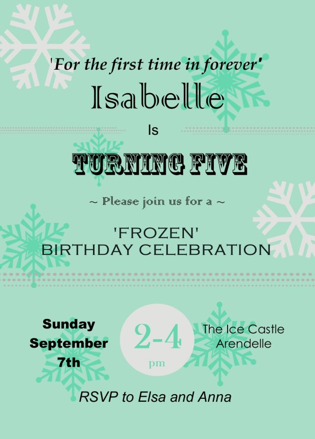 Frozen themed party invitation