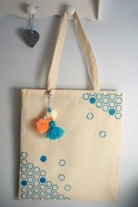 Stencilled tote bag