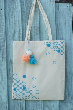 Fabric painted tote bag