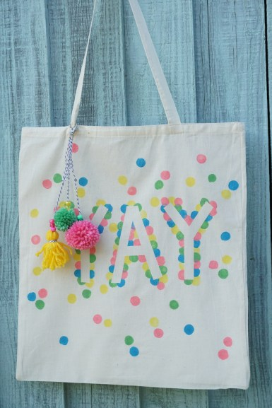 'Yay' polka dot tote bag