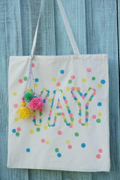 'Yay' polka dot tote bag