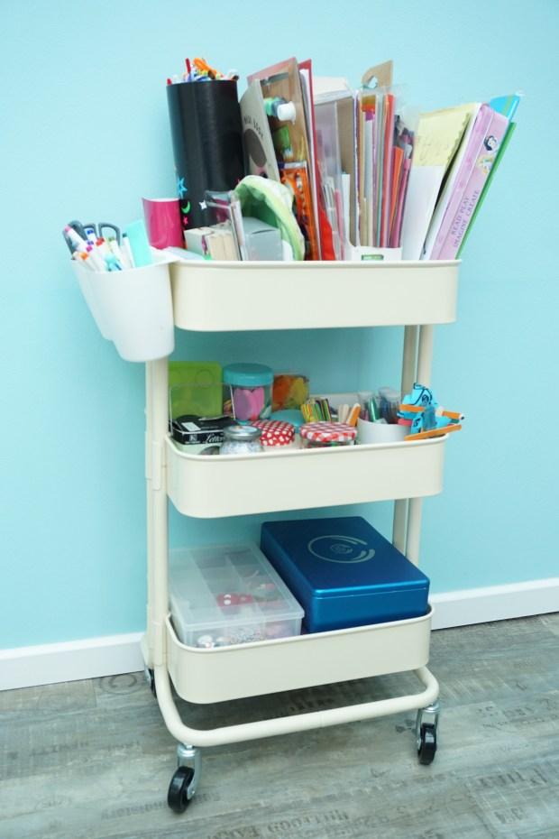 Art troley full of children's craft supplies