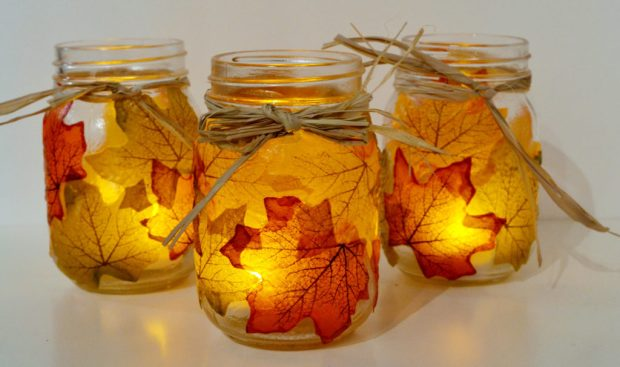 The best autumn crafts for kids Autumn leaf tea light jars by Sparkle and Chemistry