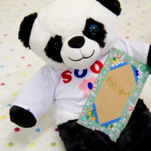 Panda teddy bear making party by Made By Me Craft Parties. Close up of panda teddy bear with t-shirt and passport made by a child at the party