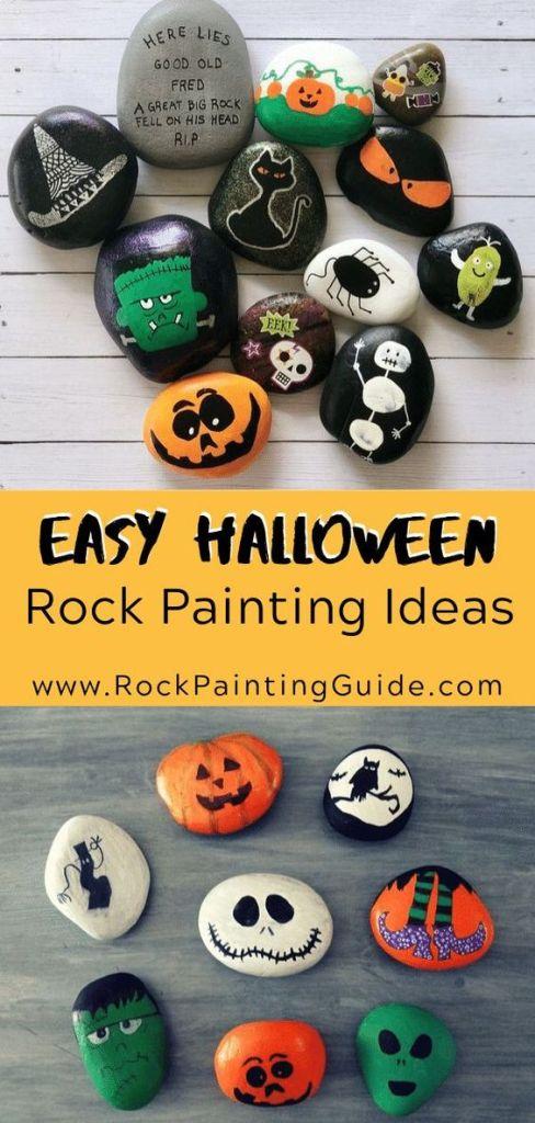 Rocks painted as pumpkins, ghosts and monsters