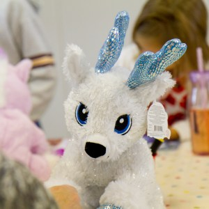 White and pale blue Christmas make your own reindeer teddy