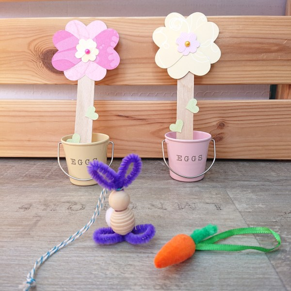 Easter craft kit. Flower bookmark and beaded bunny Easter ornament