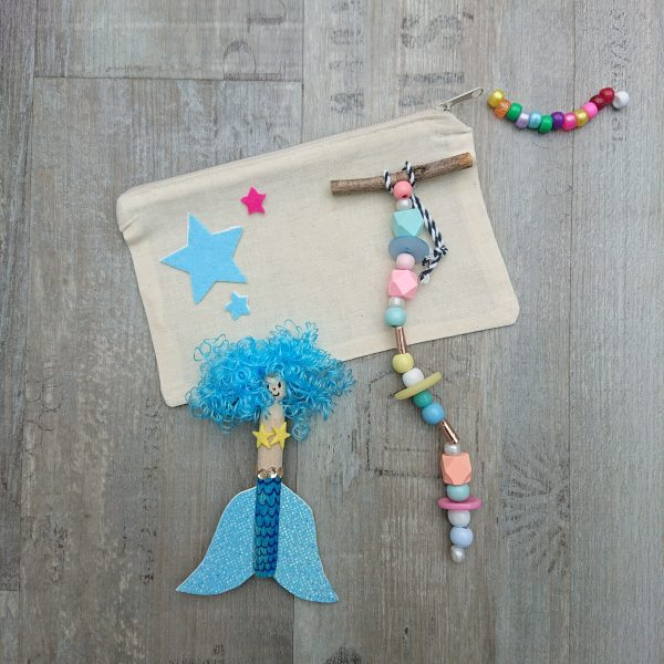 DIY mermaid craft party - Pencil case to decorate, peg doll mermaid and colourful beaded mobile