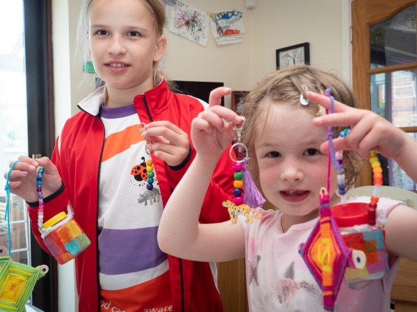 2 girls with their summer craft kit makes
