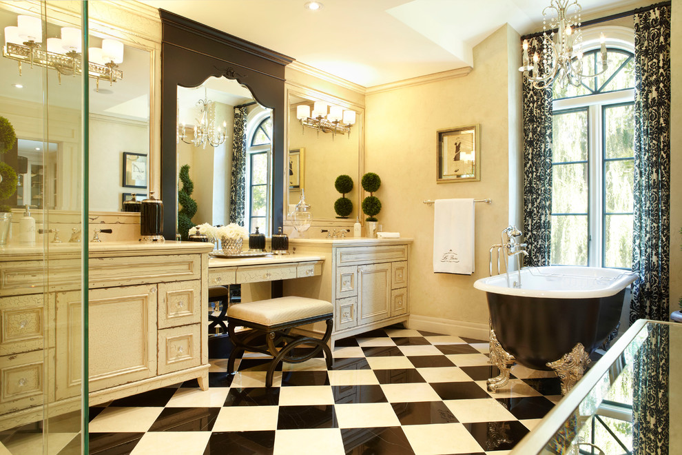Inspired mirrored console table in Bathroom Traditional with Bathroom Chandelier next to Clawfoot Tub Shower alongside Double Vanity 96 Inch and Makeup Table Bathroom Vanity