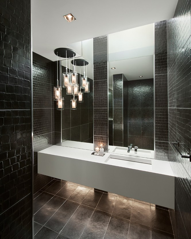 Inspired Sonneman Lighting In Bathroom Contemporary With Double Sink Next To Black Alongside Restroom Tile And Chandelier