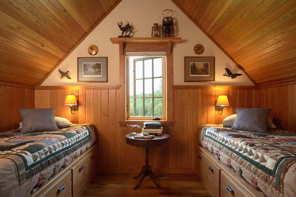 Bright duck river textile in Bedroom Rustic with Attic Bedroom  next to Twin Over Queen Bunk Bed  alongside Attic  and Cabin