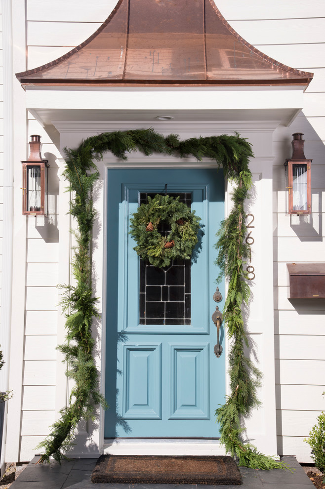 Chic funny welcome mats in Entry Traditional with Door Wreath  next to Blue Front Door  alongside Gable Roof Over Porch  and Copper Roof