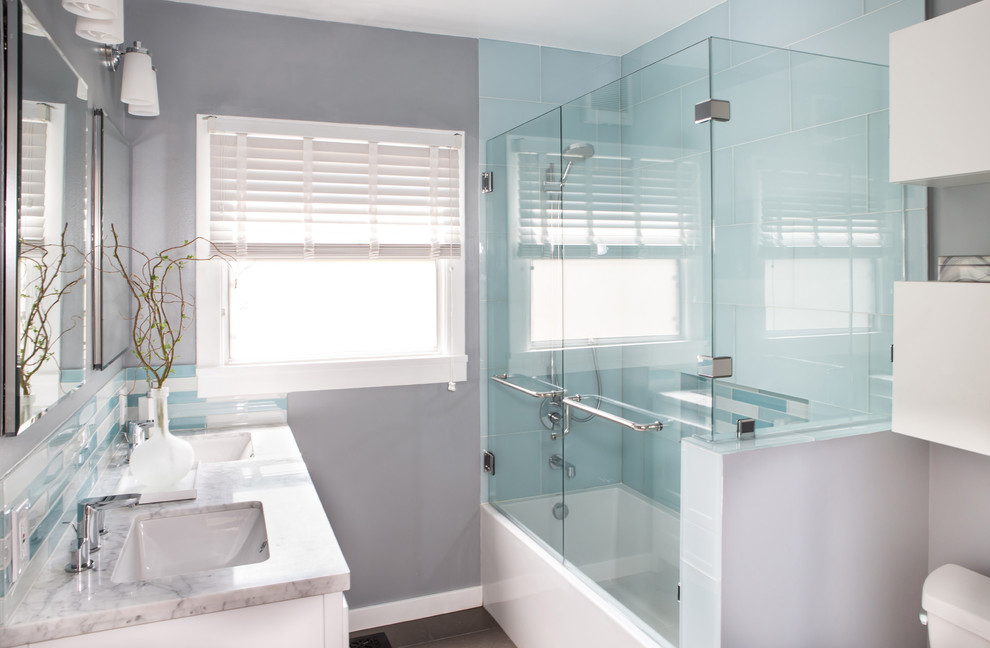 Cool kohler shower base in Bathroom Contemporary with Gray Window Treatment  next to Guest Bathroom Remodel  alongside Blue Tile Shower  and Glass Shower Panel