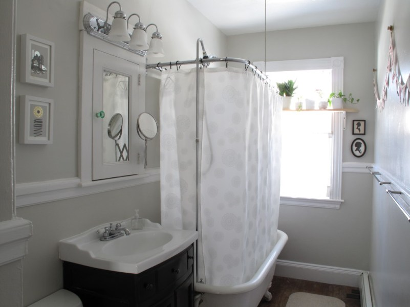 Cool olympic curl bar in Bathroom Eclectic with Ceiling Mounted     Cool olympic curl bar in Bathroom Eclectic with Ceiling Mounted Shower  Curtain next to Grey Bathroom alongside Bathrooms and Bathroom Paint Color